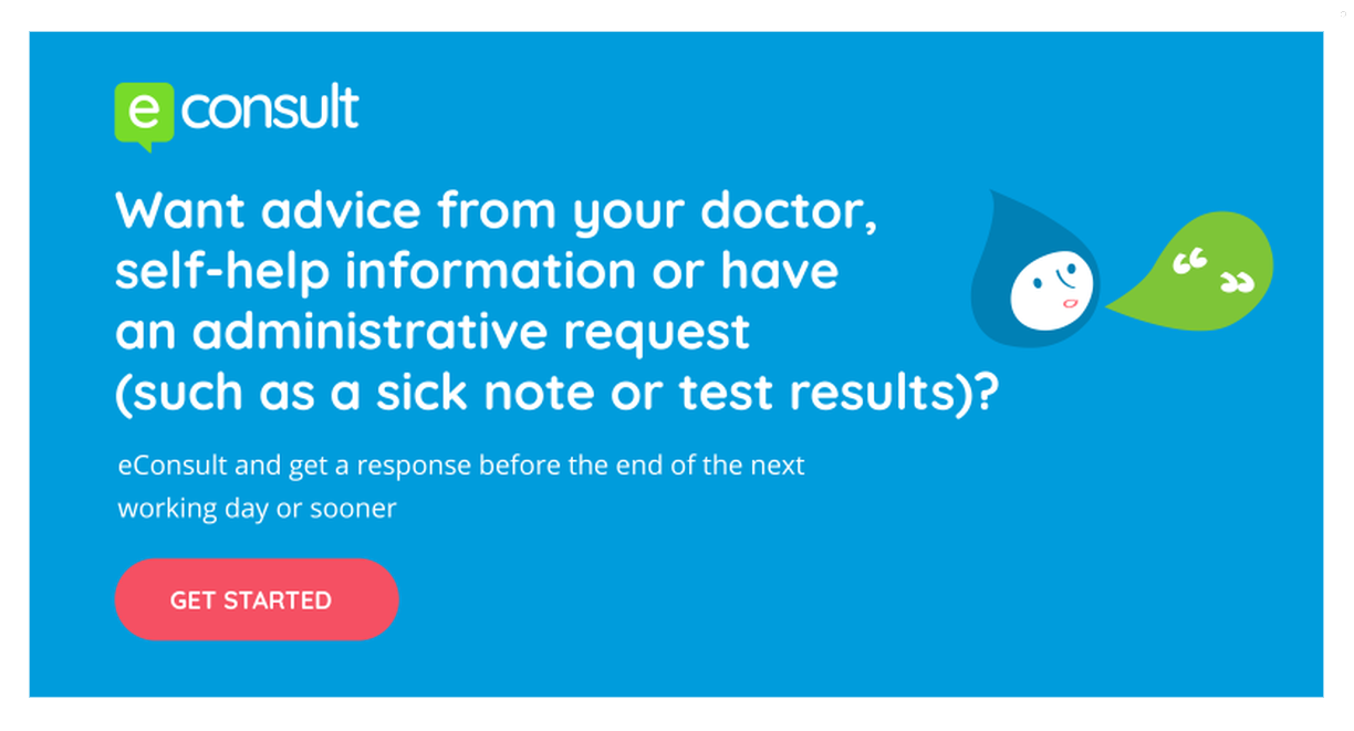 advice from doctor online, self help info, admin request, sick note or test result